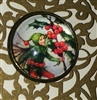 Crystal Dome Button Bronze Holly Berry Christmas Fairy Barker One Inch