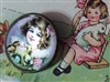 Crystal Glass Dome Button Vintage Bunnies Egg Violets for Easter
