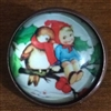 Crystal Glass Dome Button Christmas Girl in Tree & Bird