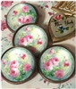 Crystal Glass Dome Button Designed from Vintage Hand Painted Plate PINK Roses