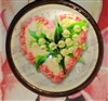 Crystal Glass Dome Button Lily of the Valley Pink Heart