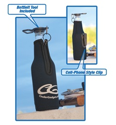 Innovative beverage insulator and drinking gadget that clips to your waist, pocket, bag or anywhere you can clip it - and securely caps off your bottle to prevent spilling!