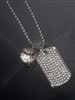 sterling silver crystal dog tag necklace with baseball charm
