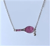 Tennis racquet pendant with crystals sterling