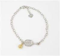 crystal and sterling pickleball bracelet
