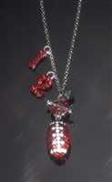 Crystal toggle football necklace with uniform numbers.