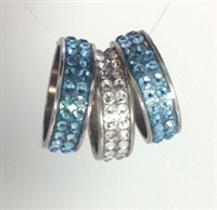 Sterling silver pavé Swarovski crystal channel rings