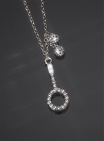 Crystal and Sterling Tennis Racquet Necklace