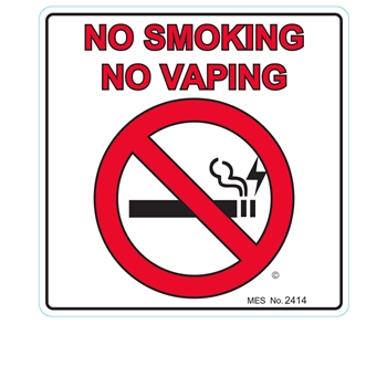 "2414 ""No Smoking, No Vaporizing"" label, 150/roll"