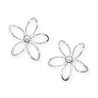 Flower Earrings Diamond Cut Sterling Silver