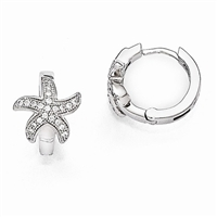 CZ Starfish Hoop Earrings