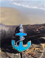 Blue Opal and CZ Anchor Pendant