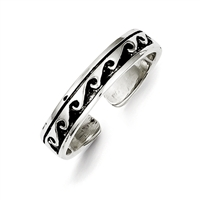 Sterling Silver Black Wave Design Band Toe Ring