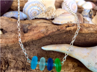Sea Glass Rondelle Bead Necklace
