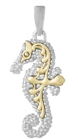 Seahorse Pendant with 14K Accents Sterling Silver