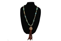 Love Tokens Turquoise Chief Necklace with Leather Tassel