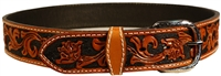 "Double J Saddlery 1 1/2"" Handtooled with Black Dyed Background Belt"