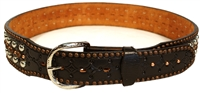 Double J Copper and Silver Stud Black Belt