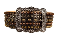 Double J Ladies Black 5 Row Copper Gold And Silver Stud Belt
