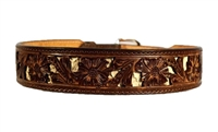 "Double J Saddlery 1 7/8"" Tapered Floral Tooling w/ Tan Inlay"