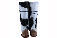 Black and White Cowhide Boot Rugs
