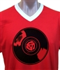 RECORD BLACK V-Neck T-Shirt