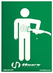 Haws SP176 vertical universal emergency body spray sign