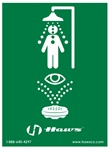 Haws SP178 vertical universal combination emergency shower and eyewash sign