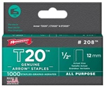 Arrow Fastener 208 T20 1/2 Inch (12mm) Staples, 1000/Pk