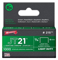 Arrow Fastener 215 JT21 5/16 Inch (8mm) Staples, 1000/Pk