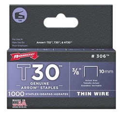 Arrow Fastener 306 T30 3/8 Inch (10mm) Staples, 1000/Pack