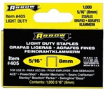 "Arrow Fastener 405 5/16"" Flat crown Staples, 1000/Pk"