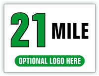 Race Distance Marker Sign 21 Mile