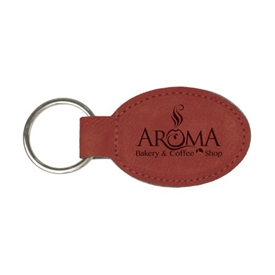 Laserable Leather Oval Keychain