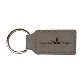 Laserable Leather Rectangle Keychain