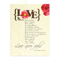 Love never fails. Happy anniversary greeting card based on 1 Corinthians 13:4-8