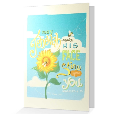 Numbers 6:25 Greeting card: May Jehovah make his face shine upon you