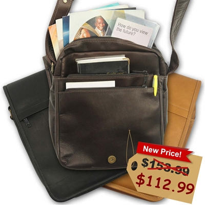 Mens Womens Leather Jehovah Witness Satchel in Brown or Black