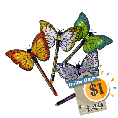 Colorful Kids Caleb & Sophia Magnetic Butterfly JW.org Pen with Encouraging Phrase