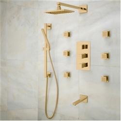 Gold Tone Finish Napoli LED Shower Set designer massage shower system
