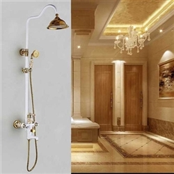 Riio Exposed Bathroom Shower Set - Complete with Mixer, Rainfall Shower Head & Hand Shower