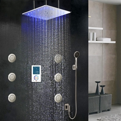 "LED Rainbow Shower Head 40"" Monarc LED Shower Set"