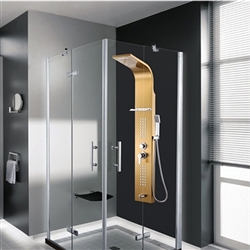 Bathroom 0.8mm Thickness Stainless Steel Rainfall Shower Panel Rain Massage System Faucet with Jets&Hand Shower&Rack