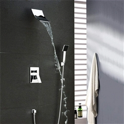 Polished Chrome Wall Mount Waterfall Shower Faucet