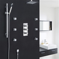 "Kristal Thermostatic 3 Outlet Shower System Set With 12"" Square Head & 6 Jets"