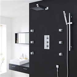 Quest Chrome Thermostatic Shower System Set With Square Rain Head Handset 6 Jets