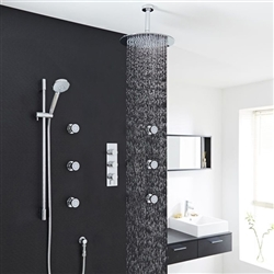 "Thermostatic Shower System With 12"" Rain Head Multifunction Handset & 6 Jets"