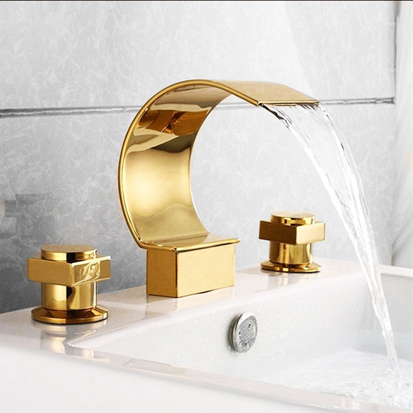 Gold Polished Waterfall Bathroom Sink Faucet Widespread 3