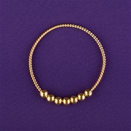 Empowerment Cubit Light-Life Ring - 1/2 Cubit, 24K Gold Plated, 7 beads