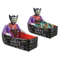 Inflatable Dracula and Coffin Cooler
